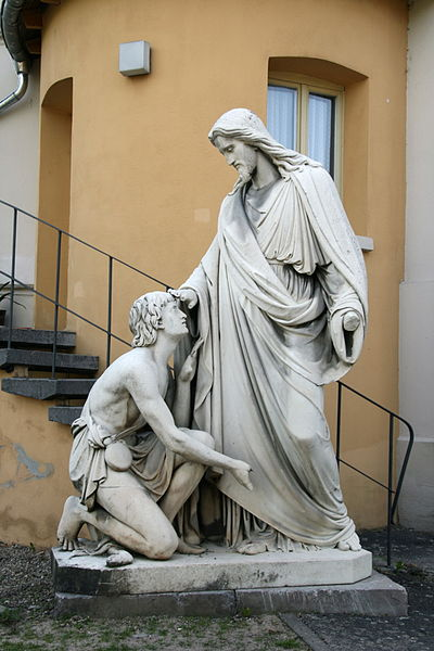 """Jesus healing blind Bartimaeus"" by Johann Heinrich Stöver, 1861. Erbach, Rheingau, Hesse, Germany"