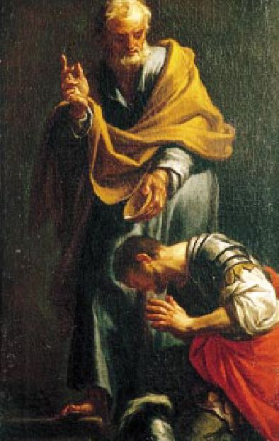 Peter Baptizing the Centurion Cornelius, by Francesco Trevisani, 1709.