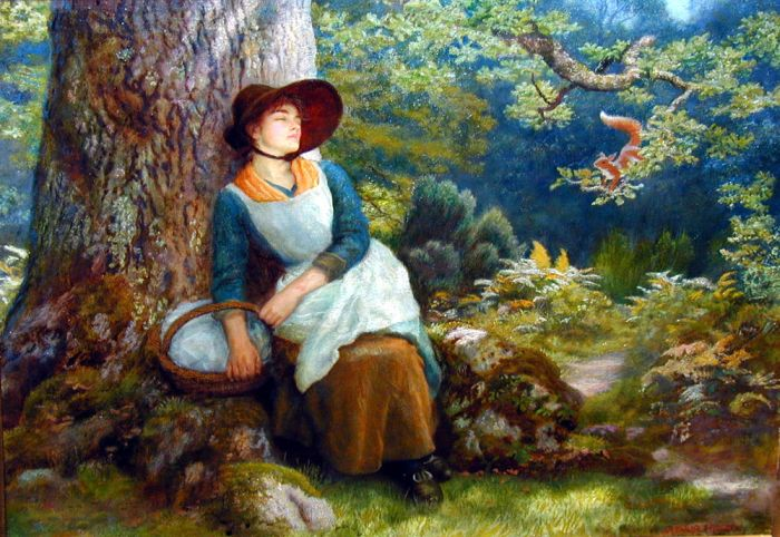 Asleep in the Woods by Arthur Hughes