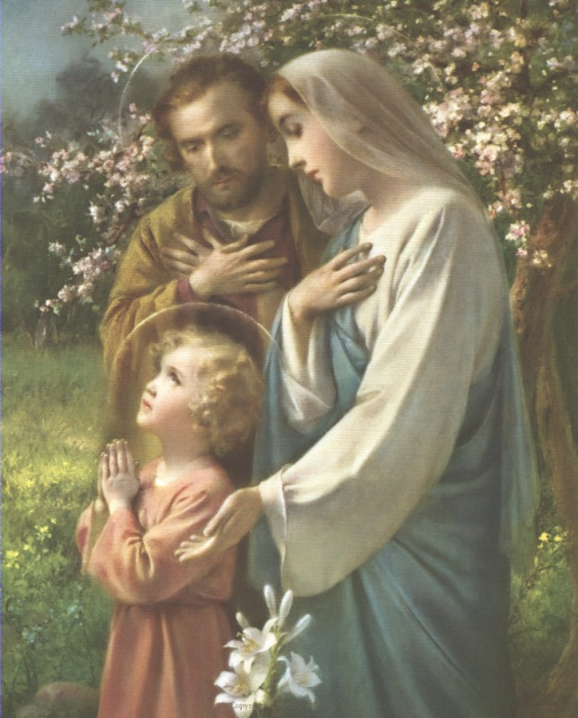 Holy Family with Jesus praying
