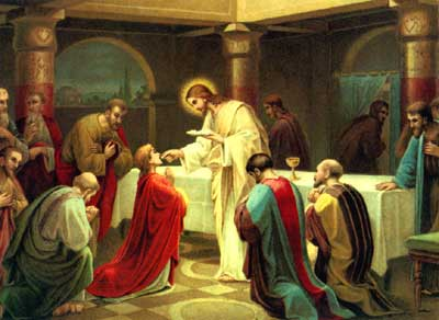 Real Presence of Jesus Christ kneeling whiles receiving Communion